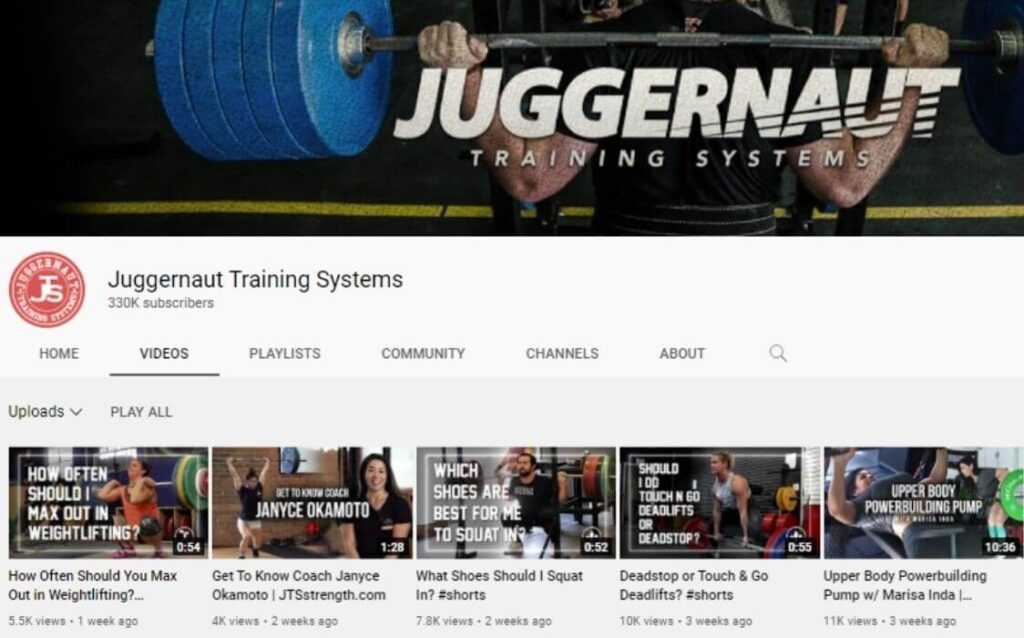 Juggernaut Training Systems powerlifting YouTube channel