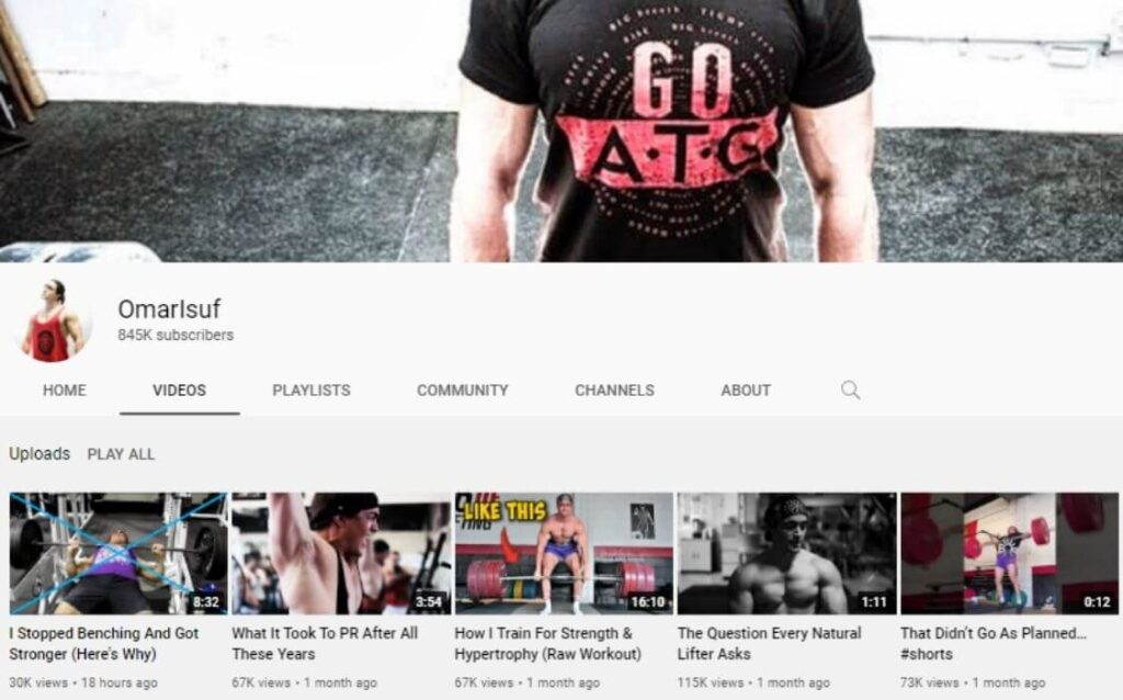 Omar Isuf powerlifting YouTube channel