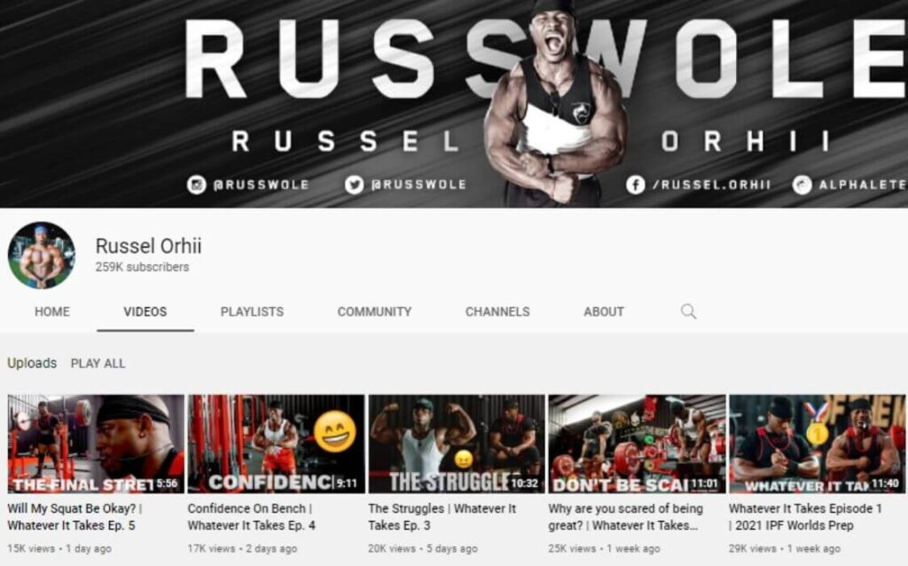 Russel Orhii powerlifting YouTube channel