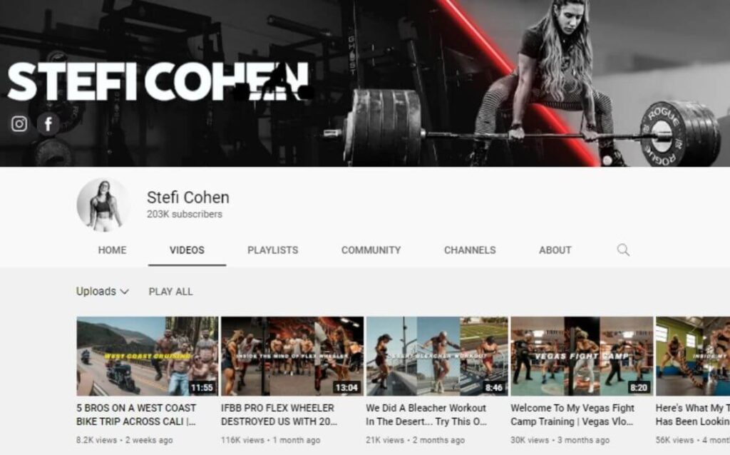Stefi Cohen powerlifting YouTube channel